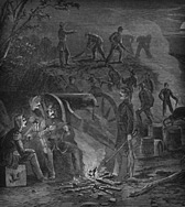 The 4th South Carolina Infantry working in the trenches at night at Camp Pickens, Manassas Junction, Virginia